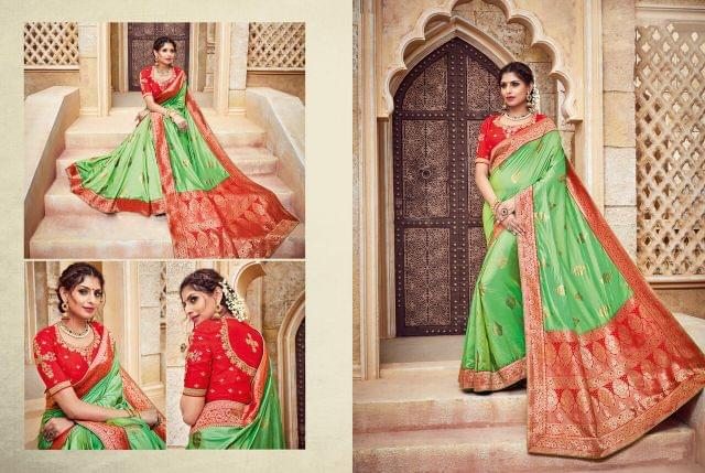 Jacquard Silk saree with Art Silk Blouse with Weaving & Jari Embroidery With Stone & Sequence Work