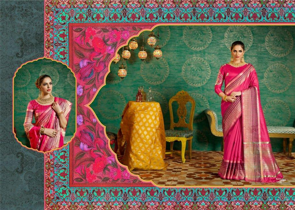 Handloom Art Silk Saree with Handloom Art Silk Blouse with Weaving With Jari & Thread Work