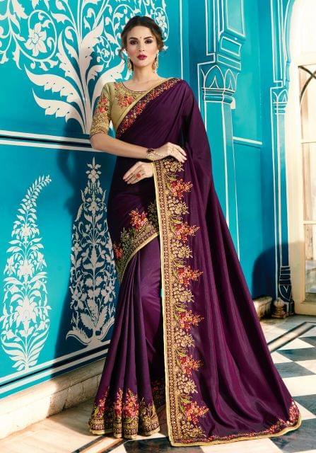 Art Silk saree with Art Silk blouse and Jari & Resham Embroidery With Stone Work