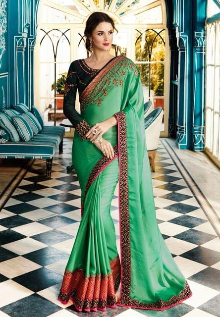 Soft Silk saree with Velvet Silk blouse and Jari & Resham Embroidery With Stone Work