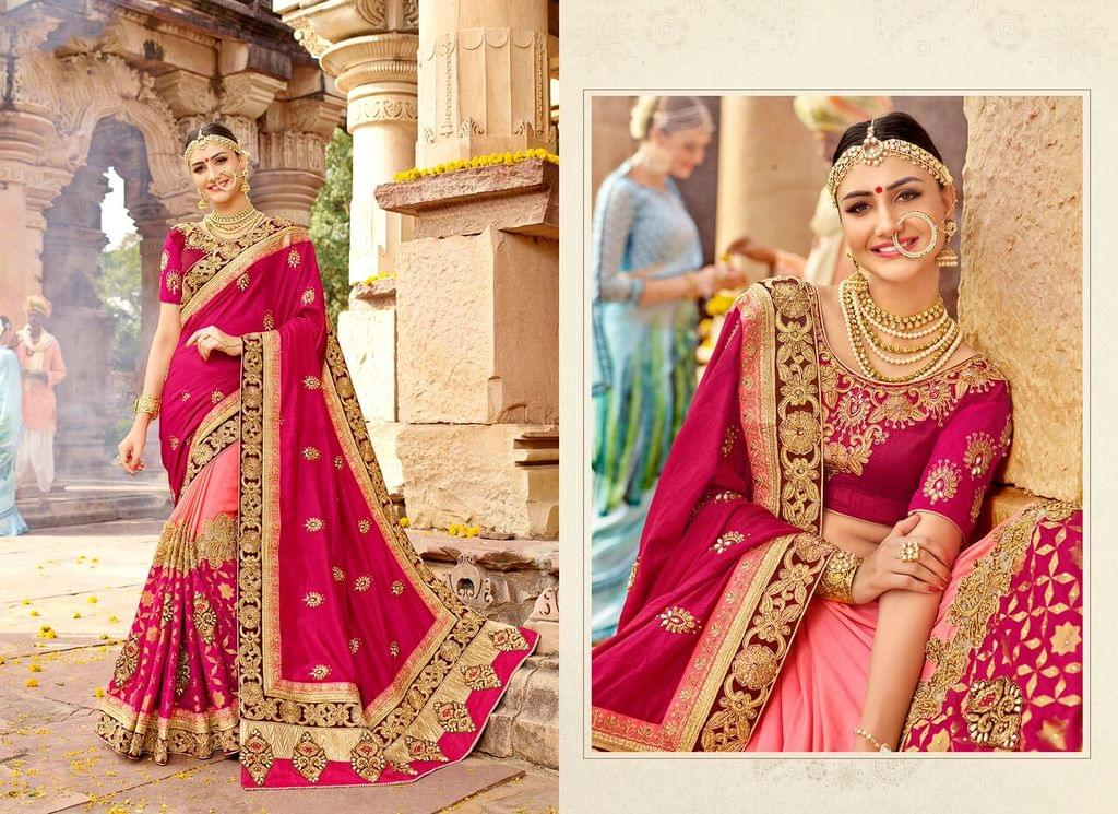 Art Silk saree with Art Silk blouse and Thread & Jari Embroidery With Stone Work