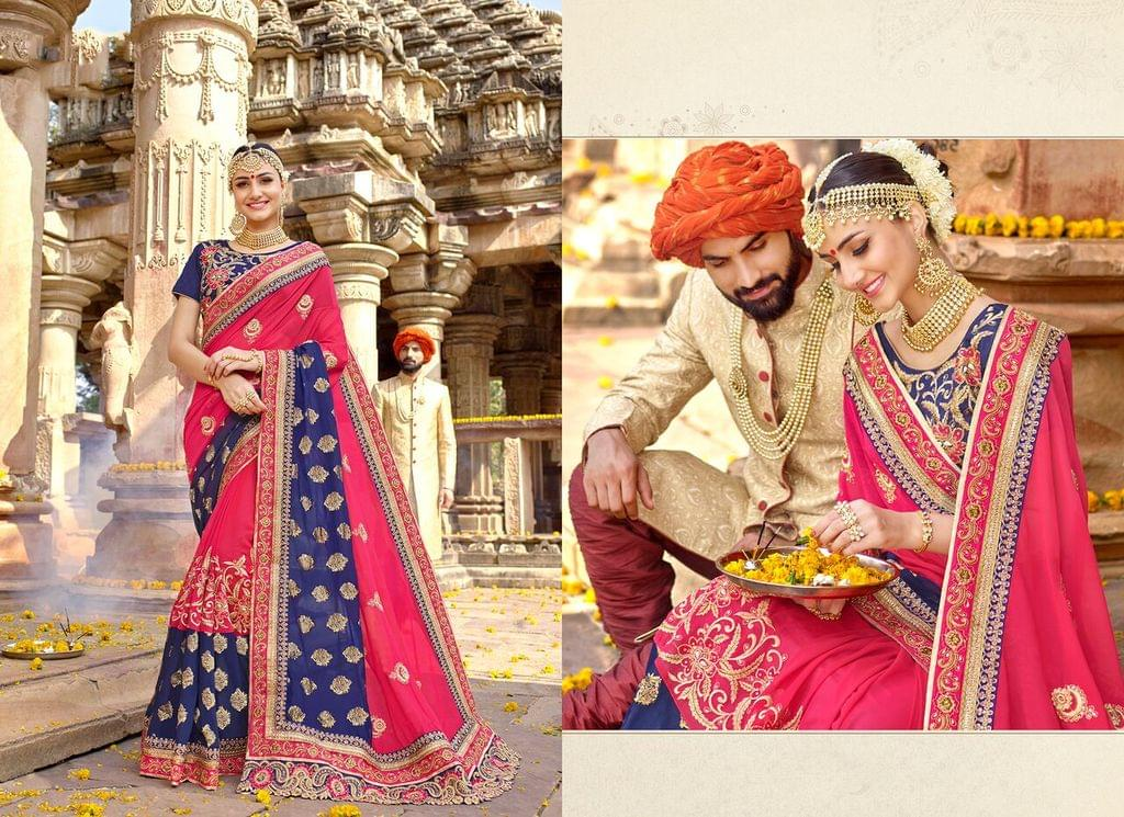 Georgette saree with Art Silk blouse and Thread & Jari Embroidery With Stone Work