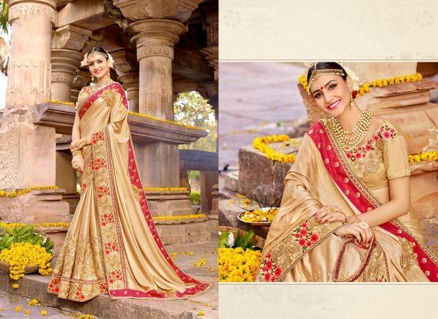 Silk Chiffon saree with Art Silk blouse and Thread & Jari Embroidery With Stone Work