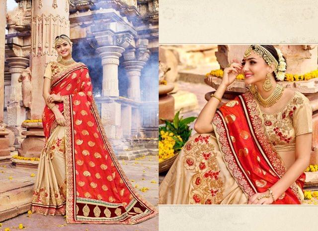 Jacquard Silk & Silk Chiffon saree with Art Silk blouse and Thread & Jari Embroidery With Stone Work