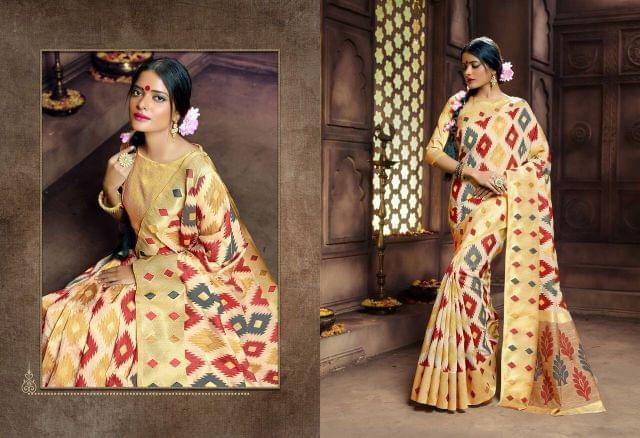 Banarasi Art Silk Saree with Banarsi art silk blouse. Work on Saree is Weaving
