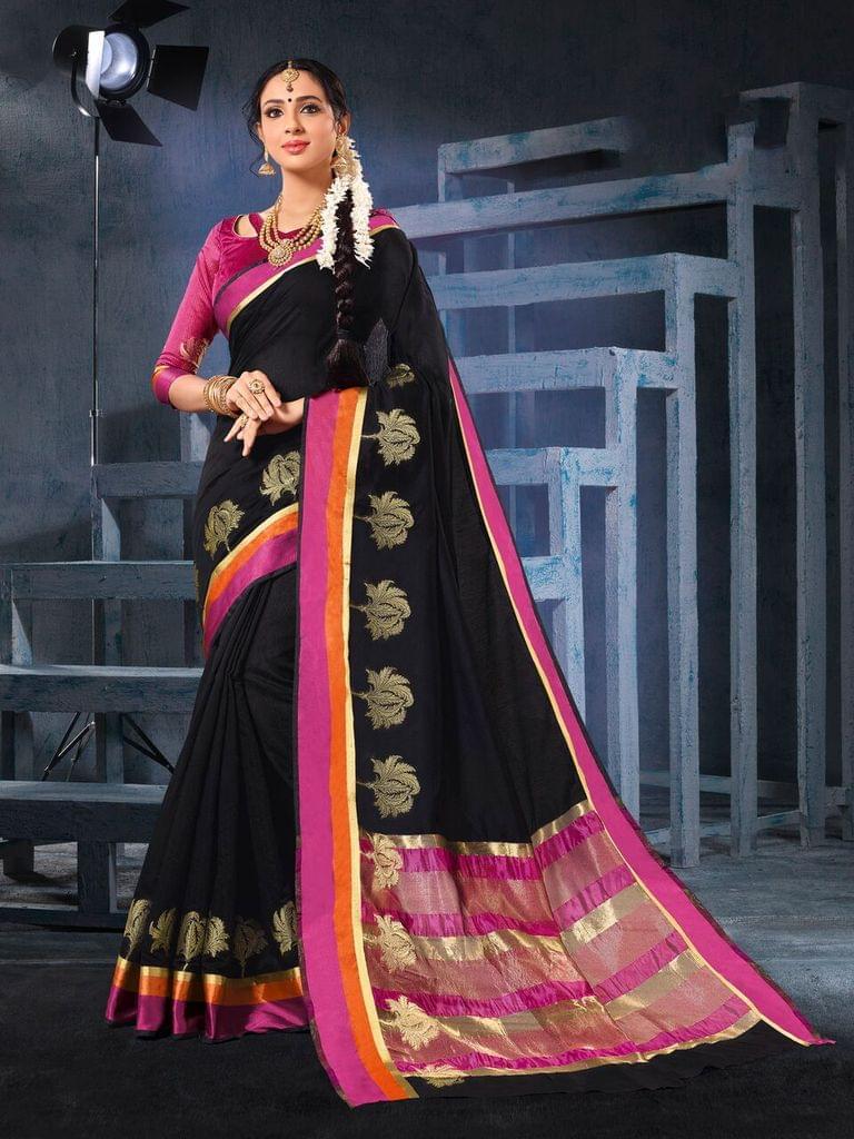 Cotton Silk Saree with Cotton Silk Blouse, with waving work on saree