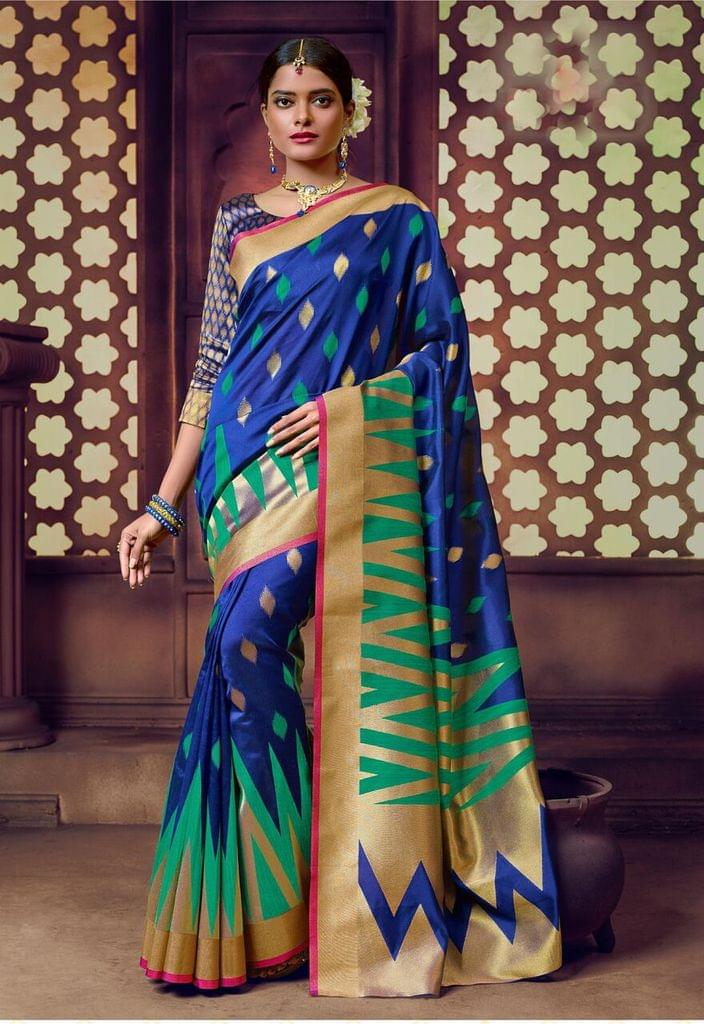 Banarasi Art Silk Saree with Banarsi art silk blouse. Work on Saree is Weaving