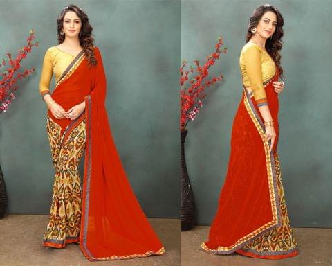 Georgette Saree with Art Silk and Net Blouse and Printed and thread work