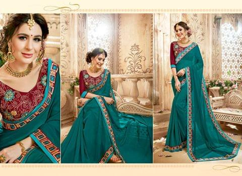 Gerogette Saree with Art Silk Blouse and Thread Embroidery With Stone Work