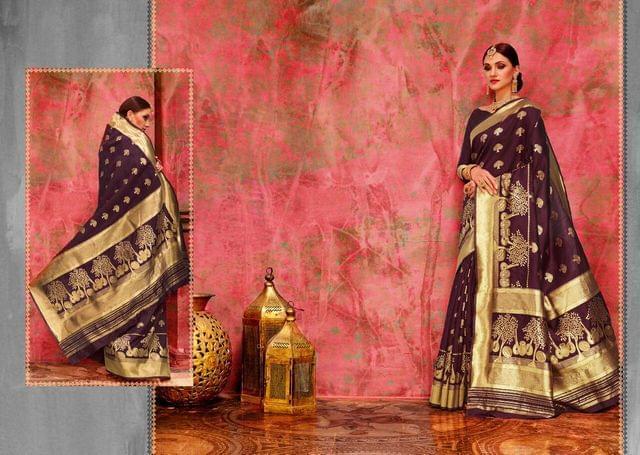Banarasi Art Silk Saree with Banarasi Art Silk Blouse. Weaviing work on saree