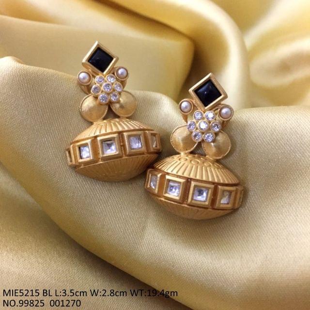 Brass + Gold Plated+ Semi Precious Stone Earrings