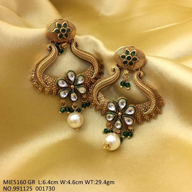 Brass+ Gold Plated+ Kundan Stones+ Pearl