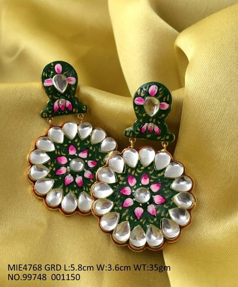 Hand-painted Jhumki or Danglers with an year warranty-Blue and Red