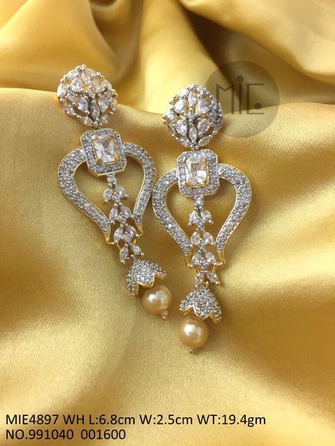 High Class Dangler made of American Diamond and Precious Stone- White Stone
