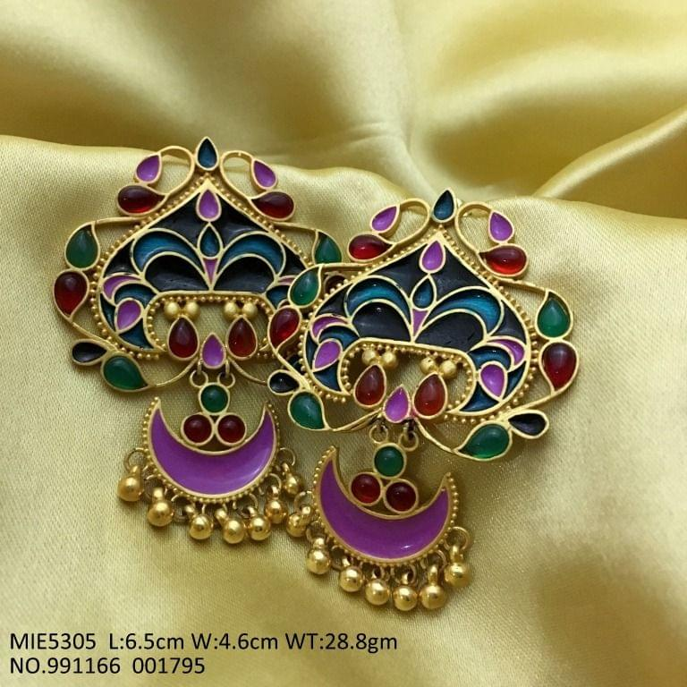 High Class Multicolored Semi Precious Stones Earrings/Danglers with an year warranty
