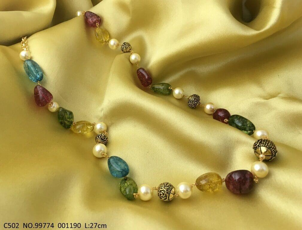 Buy this beautiful Chain Necklace made of semi precious beads  and stones