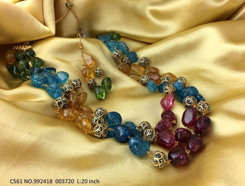 High quality Stones + Beads Necklace with 2 years Warranty