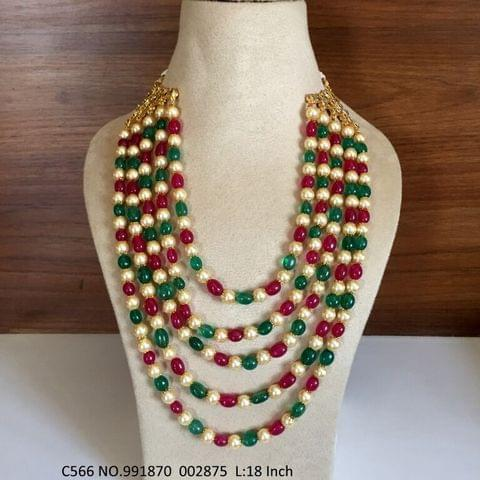 High quality Stone and Pearl Necklace. Length is 18 inches