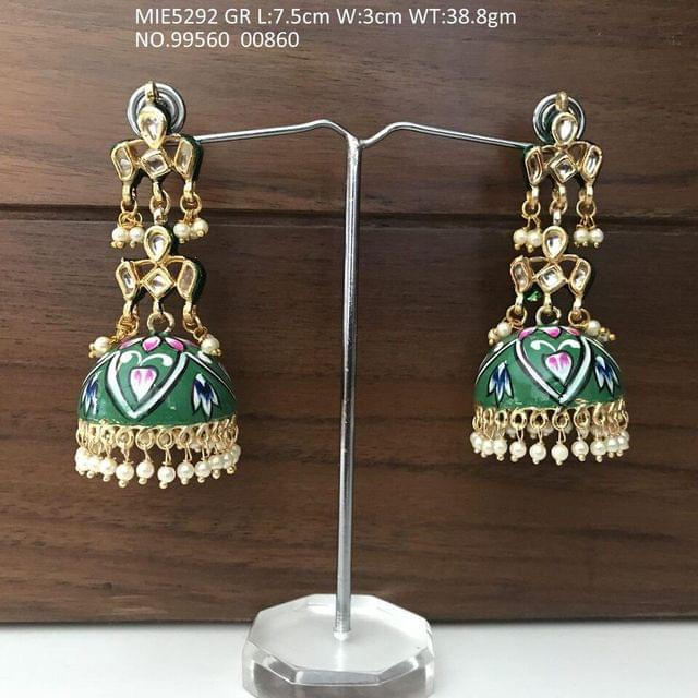 Beautiful  Hand-painted Dangler studded with kundan stones