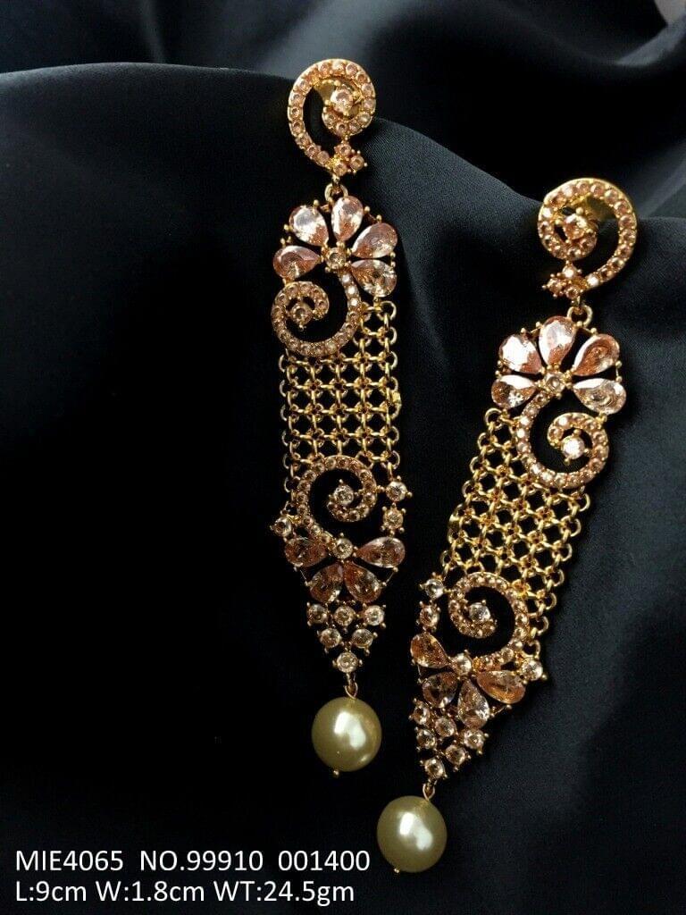 Brass+ Semi Precious Stone + Pearl Dangler