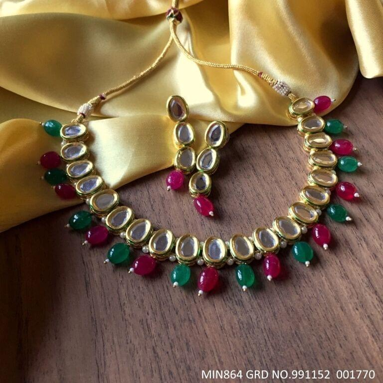 Kundan Necklace + Pair of Jhumka  with an year warranty