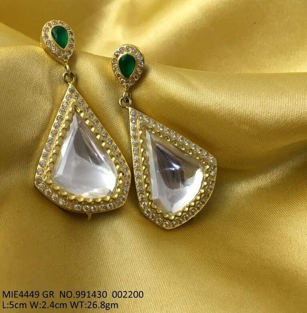 Brass and Silver Earring ,with golden plating and Kundan Stones