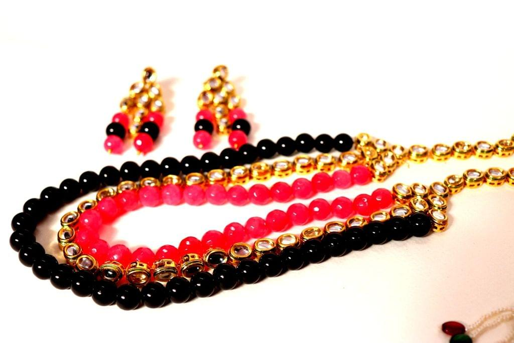 Necklace with pair of jhumka- Kundan + Semi Precious Stone