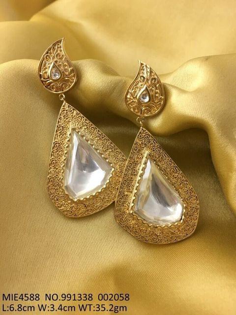 Brass + Semi Precious Stones dangler with an year warranty