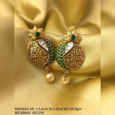 Gold plated+ Brass Jhumki with semi precious stones + Fresh water pearl