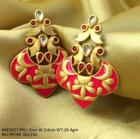 Brass + Gold Plated Jhumki with beautiful meenakari worked