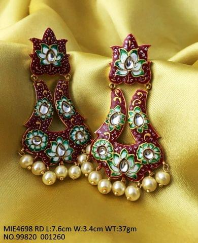 Meenakari+ Handprinted DanglerJhumki with an year warranty