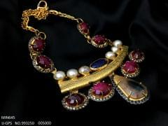 Contemporary Grand Gold Plated Necklace with Semi Precious Beads