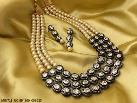 Triple Layered American Diamond Necklace along witth Fresh Water Pearl Chain