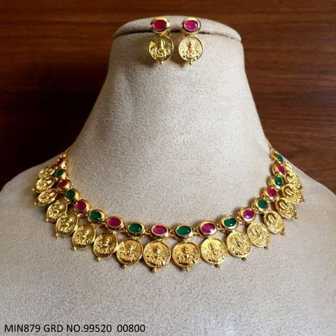 High Class Brass Necklace with pair of Jhumki