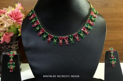 American Diamond Necklace with pair of American Diamond Jhumki