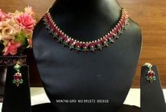 American Diamond Necklace with pair of American Diamond Jhumki