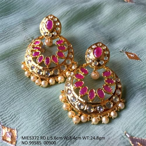 Gold plated+ Semi precious stone dangler with an year warranty
