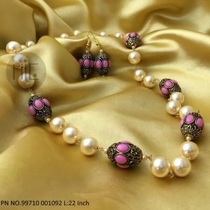 Nakshi Work Beads with Shell Pearls and matching Earrings