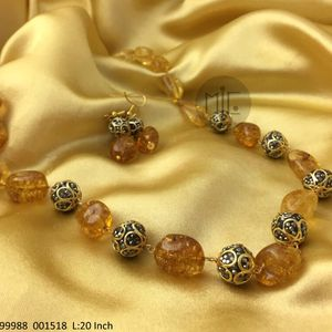 Quartz Single line Tourmaline Look Alike Beads mala with golden victorian beads Lines