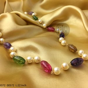 Long Oval Quartz Beads with Shell Pearls