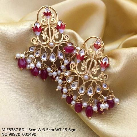 Brass+ Gold Plated Jhumki with Handprint and Semi Precious Stones