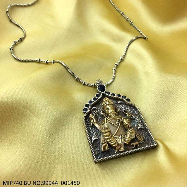 Gold Plated Ganpati Pendant set studded with semi precious stone. Base metal is German Silver