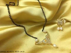 American Diamond Pendant set along with Pearl Chain