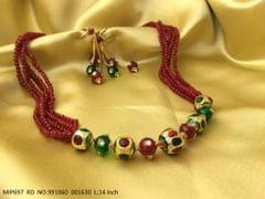 Pendant set with beautiful pair of earrings. Made of sem precious beads and pearls