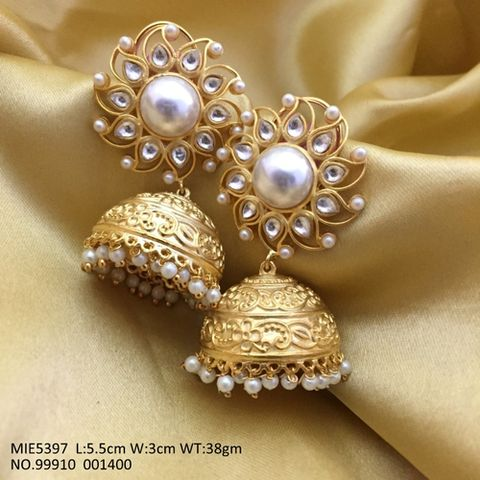 Gold plated Jhumki with an year warranty