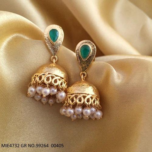 Brass + Semi Precious Stones Jhumki with an year warranty