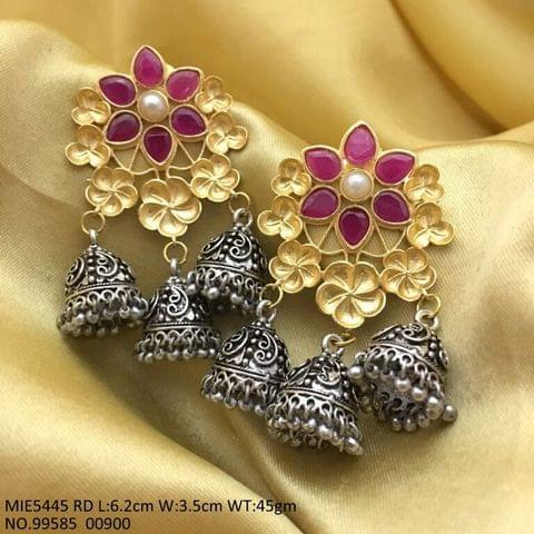 German Silver + Brass+ Semi Precious Stone Jhumki- 1 year warranty