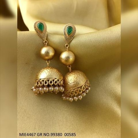 Brass +  Semi Precious StoneJhumka with an year warranty