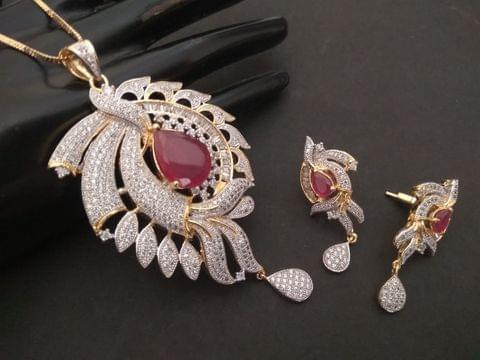 Buy this beautiful pair American Diamond Pendant Set with beautiful Pair of Earrings