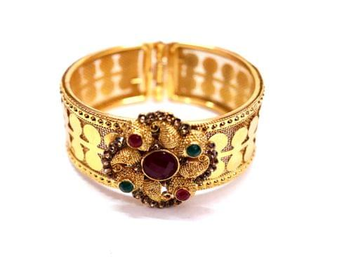 Gold plated + Brass Kada studded with semi precious stone